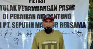 Nelayan Menolak Penambang Pasir PT.SMB Di Perairan Air Kantung Sungailiat