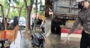 Diduga Kurang Konsentrasi Drum Truck Tabrak Pohon Mahoni