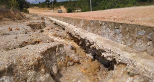 Milliaran Rupiah Dana APBD Belitung Keluarkan, Belum Lama Selesainya Siring Saluran Air (Bandar) Rusak